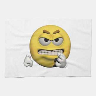 Yellow angry emoticon or smiley kitchen towel