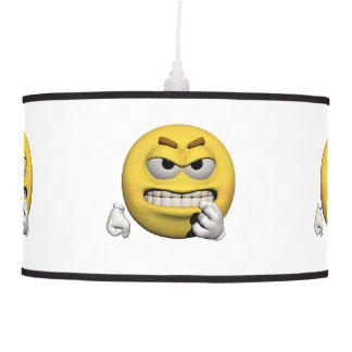 Yellow angry emoticon or smiley pendant lamp