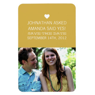 Yellow Announcement Photo Save The Date Magnet