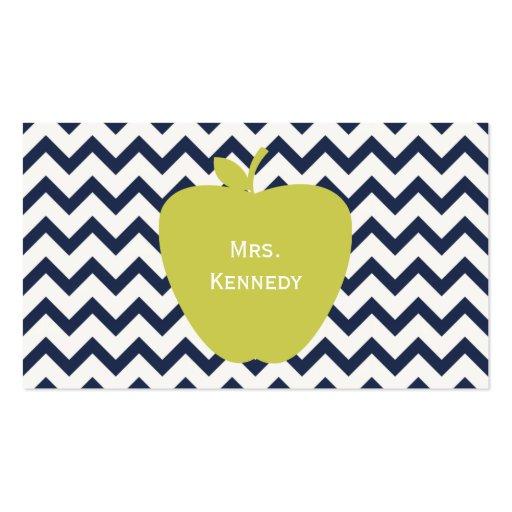 Yellow Apple Navy Chevron Teacher Business Card Template