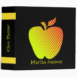 Yellow Apple Teacher's Class Planner Vinyl Binders
