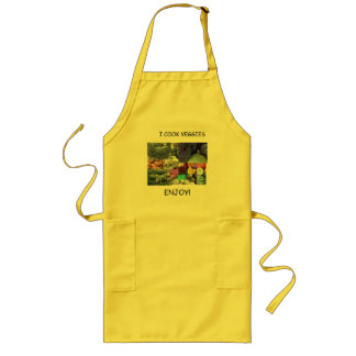 YELLOW APRON: I COOK VEGGIES, ENJOY! LONG APRON