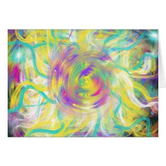 Yellow Aqua Star Spiral Abstract Art Design Card