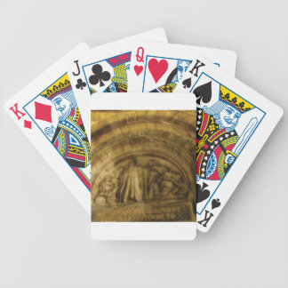yellow arch stonework bicycle playing cards
