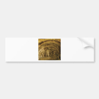 yellow arch stonework bumper sticker