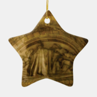 yellow arch stonework ceramic ornament