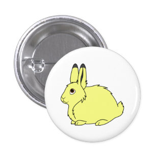 Yellow Arctic Hare 1 Inch Round Button