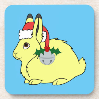 Yellow Arctic Hare with Santa Hat & Silver Bell Coasters