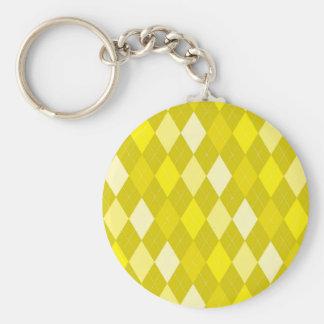 Yellow argyle pattern basic round button keychain