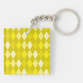 Yellow argyle pattern Double-Sided square acrylic keychain