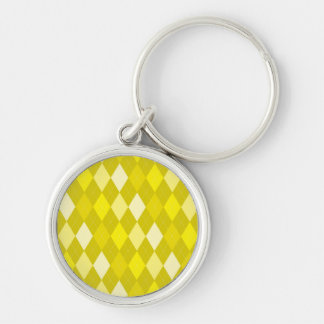 Yellow argyle pattern Silver-Colored round keychain