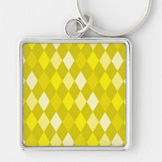 Yellow argyle pattern Silver-Colored square keychain
