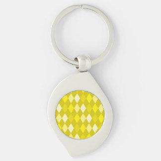 Yellow argyle pattern Silver-Colored swirl keychain