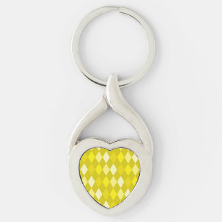 Yellow argyle pattern Silver-Colored twisted heart keychain