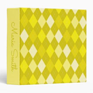 Yellow argyle pattern vinyl binder
