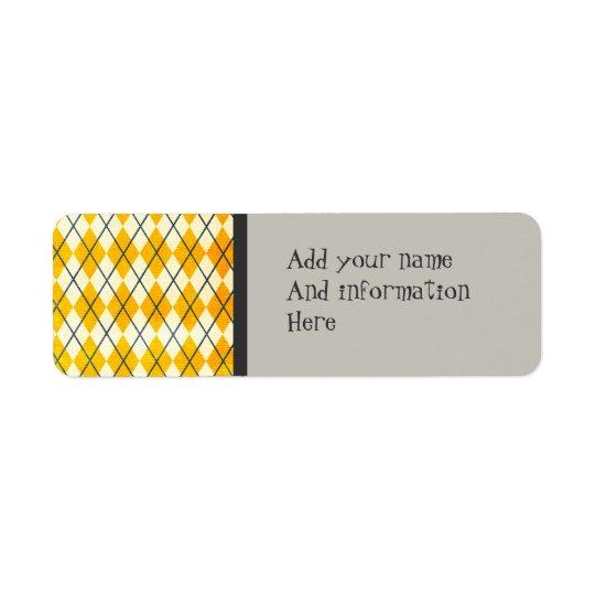 Yellow Argyle Return Address Label