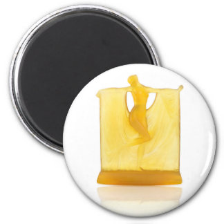 Yellow Art Deco glass statue of a dancer. 2 Inch Round Magnet