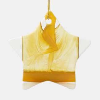 Yellow Art Deco glass statue of a dancer. Ceramic Star Ornament