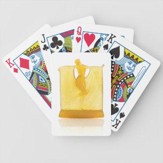 Yellow Art Deco glass statue of a dancer. Poker Deck