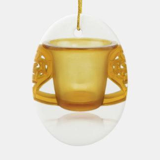 Yellow Art Deco Swirl Vase. Ceramic Ornament