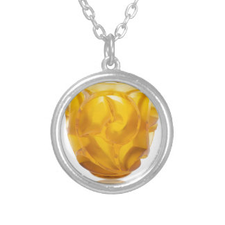 Yellow Art Deco Swirl Vase Silver Plated Necklace