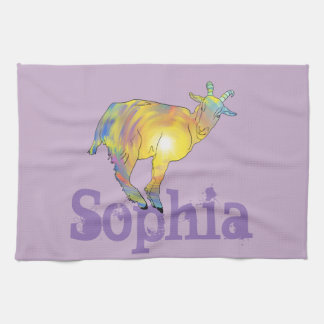 Yellow Art Goat on Things, Design Add Your Name Kitchen Towel
