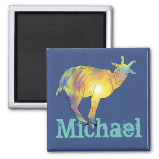Yellow Art Goat on Things, Design Add Your Name Magnet