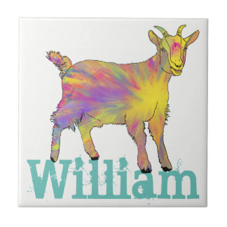 Yellow Art Goat Standing On Design With Your Name Tile