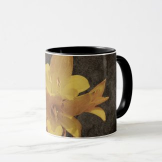 Yellow Asiatic lily on old grunged canvas Mug
