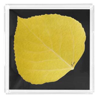 Yellow Aspen Leaf #5 Acrylic Tray