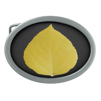Yellow Aspen Leaf #5 Oval Belt Buckles