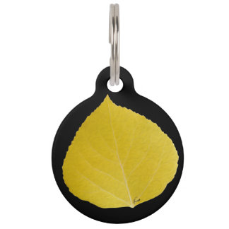 Yellow Aspen Leaf #5 Pet Tag