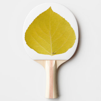 Yellow Aspen Leaf #5 Ping Pong Paddle