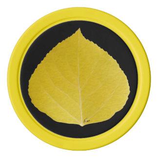 Yellow Aspen Leaf #5 Poker Chips