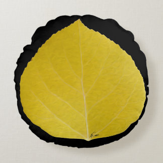 Yellow Aspen Leaf #5 Round Pillow
