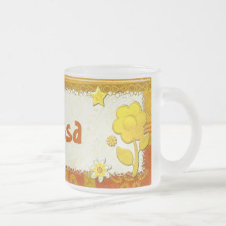 Yellow at Play Jeweled PERSONALIZED Frosted Glass Coffee Mug