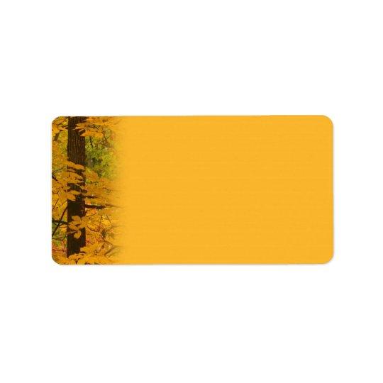 Yellow Autumn Forest Wedding Label