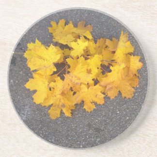 YELLOW AUTUMN LEAVES BRANCH DRINK COASTERS
