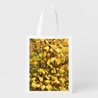 YELLOW AUTUMN LEAVES REUSABLE GROCERY BAG