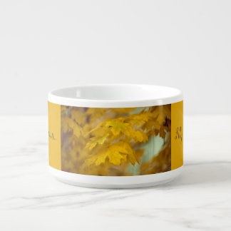 Yellow autumn maple leaves. Add you text. Bowl