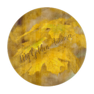 Yellow autumn maple leaves. Add you text. Cutting Board