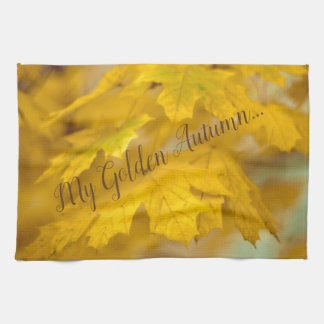 Yellow autumn maple leaves. Add you text. Kitchen Towel