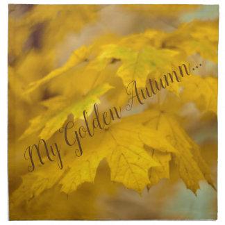 Yellow autumn maple leaves. Add you text. Napkin
