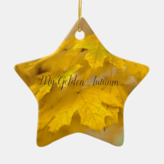 Yellow autumn maple leaves. Add you text or name. Ceramic Ornament