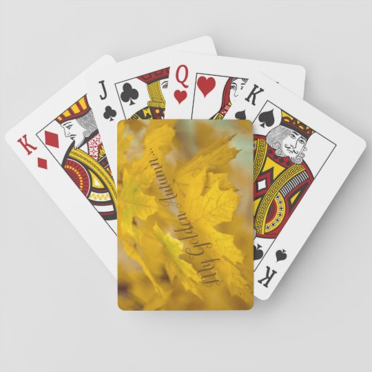 Yellow autumn maple leaves. Add you text or name. Playing Cards