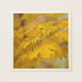 Yellow autumn maple leaves. Add you text. Paper Napkin
