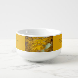 Yellow autumn maple leaves. Add you text. Soup Mug