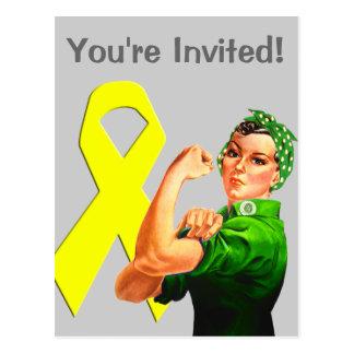 Yellow Awareness Ribbon Rosie the Riveter Postcard