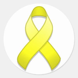 Yellow Awareness Ribbon Round Sticker