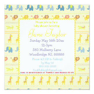 Yellow Baby Animals Baby Shower Invitations